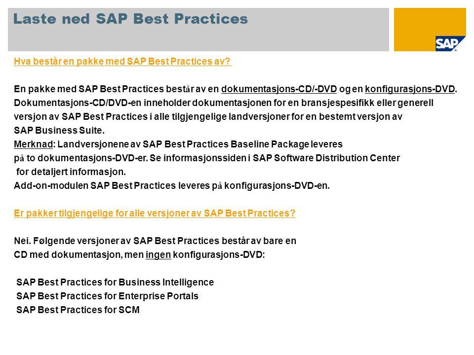 Hva består en pakke med SAP Best Practices av? En pakke med SAP Best Practices best å r av en dokumentasjons-CD/-DVD og en konfigurasjons-DVD. Dokumen