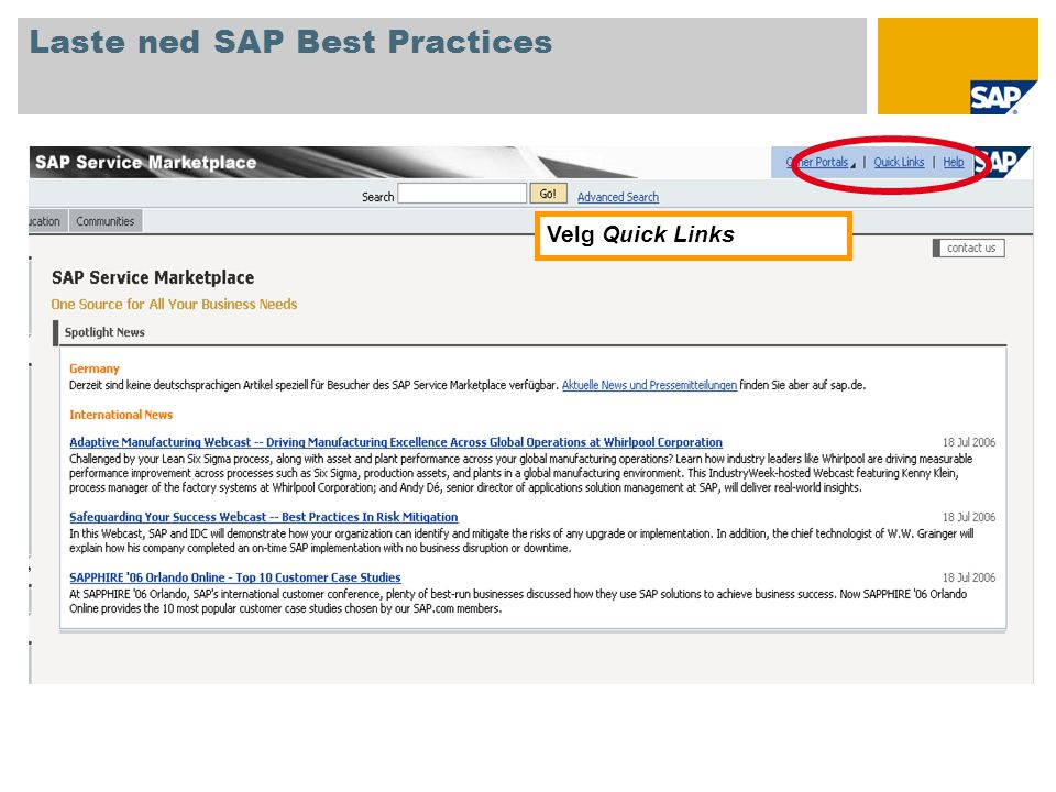 Velg Quick Links Laste ned SAP Best Practices