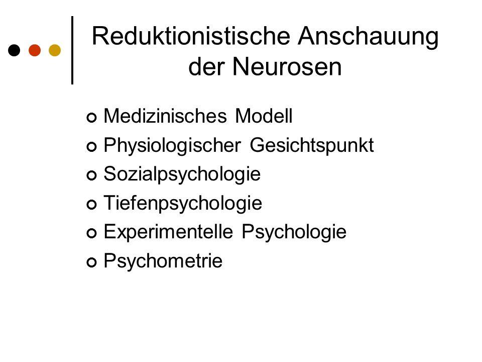 Reduktionistische Anschauung der Neurosen Medizinisches Modell Physiologischer Gesichtspunkt Sozialpsychologie Tiefenpsychologie Experimentelle Psychologie Psychometrie