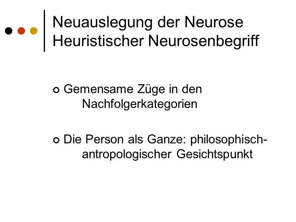Neuauslegung der Neurose Heuristischer Neurosenbegriff Gemensame Züge in den Nachfolgerkategorien Die Person als Ganze: philosophisch- antropologischer Gesichtspunkt