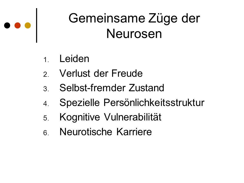 Gemeinsame Züge der Neurosen 1.Leiden 2. Verlust der Freude 3.