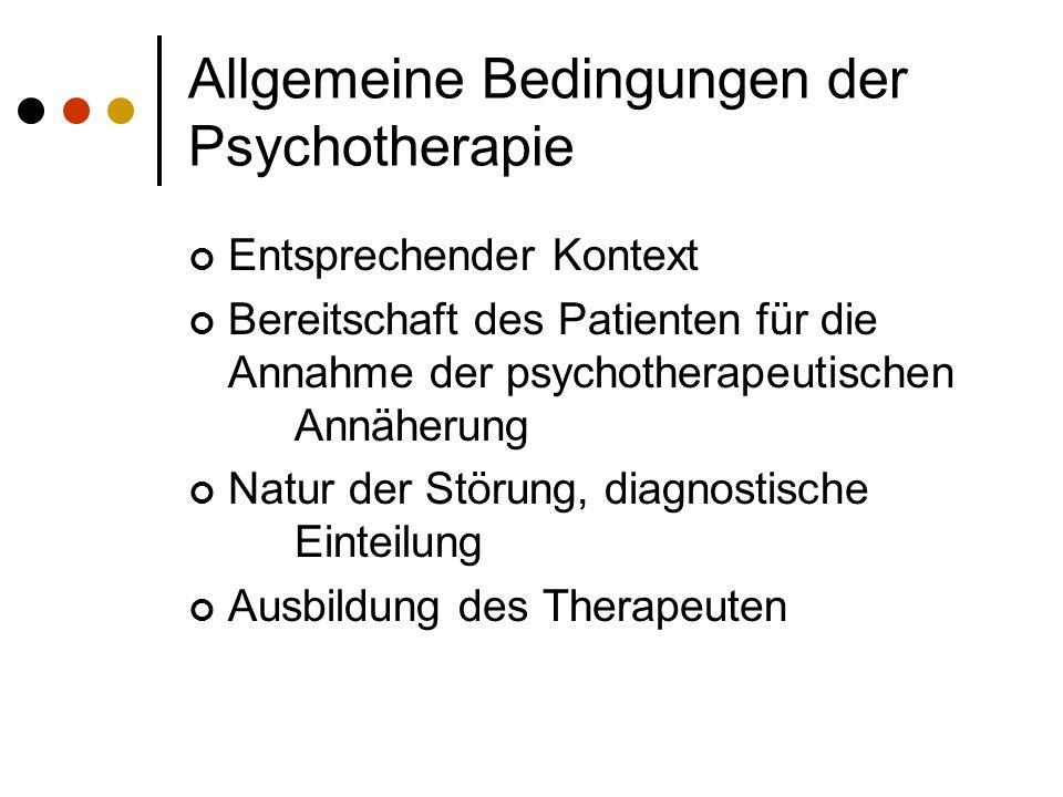 Allgemeine Bedingungen der Psychotherapie Entsprechender Kontext Bereitschaft des Patienten für die Annahme der psychotherapeutischen Annäherung Natur der Störung, diagnostische Einteilung Ausbildung des Therapeuten