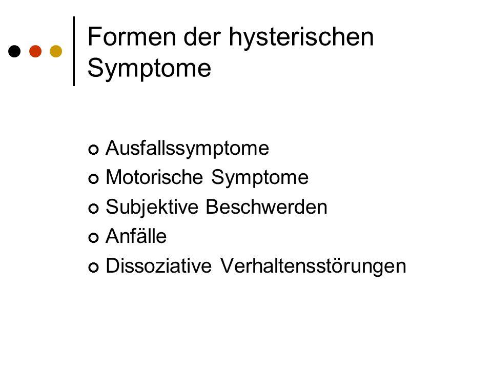 Die Gruppen der Hysterischen Krakheitsbilder Somatoforme Störungen Dissoziative Störungen