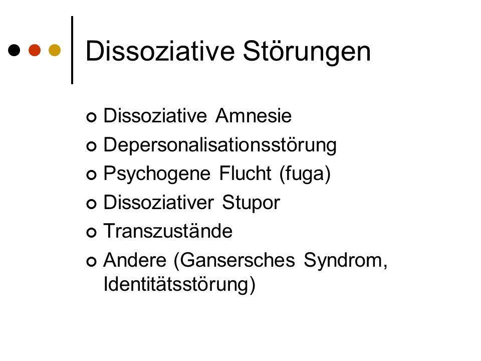 Dissoziative Störungen Dissoziative Amnesie Depersonalisationsstörung Psychogene Flucht (fuga) Dissoziativer Stupor Transzustände Andere (Gansersches Syndrom, Identitätsstörung)