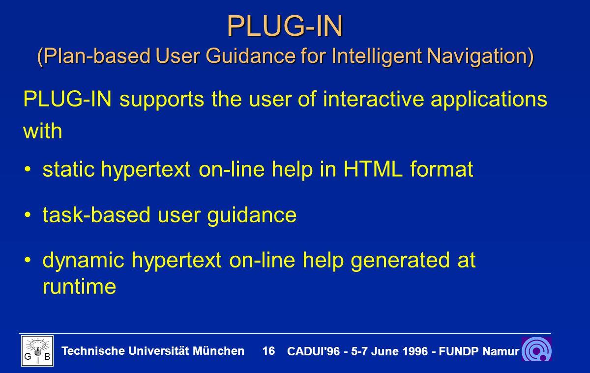 Technische Universität München 16 CADUI'96 - 5-7 June 1996 - FUNDP Namur G B I PLUG-IN (Plan-based User Guidance for Intelligent Navigation) static hy