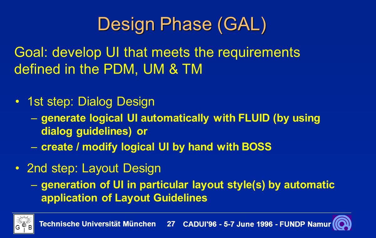 Technische Universität München 27 CADUI'96 - 5-7 June 1996 - FUNDP Namur G B I Design Phase (GAL) 1st step: Dialog Design –generate logical UI automat