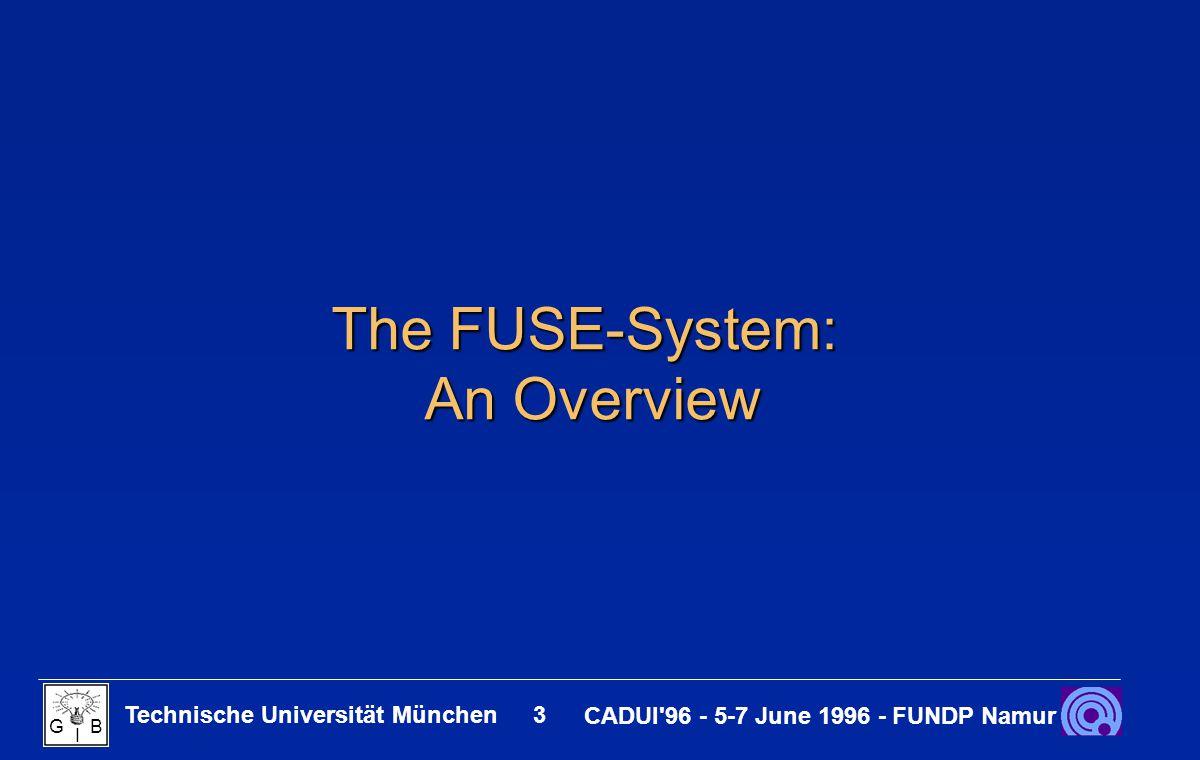 Technische Universität München 14 CADUI 96 - 5-7 June 1996 - FUNDP Namur G B I An Example Application modeled with FUSE