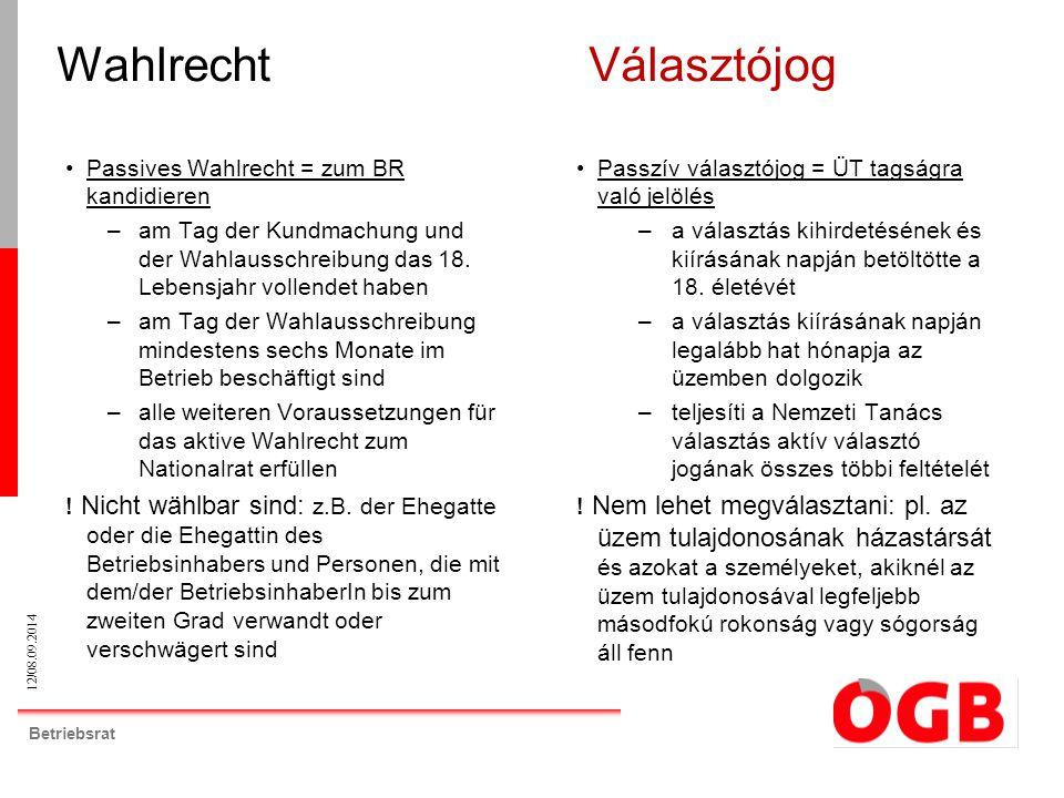 12/08.09.2014 Betriebsrat WahlrechtVálasztójog Passives Wahlrecht = zum BR kandidieren –am Tag der Kundmachung und der Wahlausschreibung das 18.