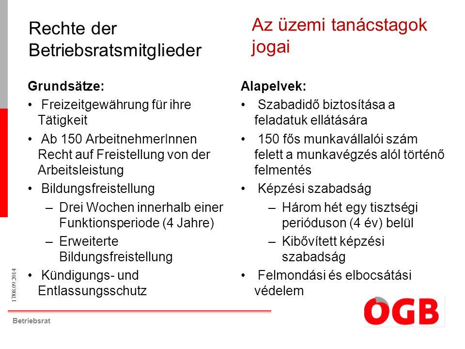 17/08.09.2014 Betriebsrat Grundsätze: Freizeitgewährung für ihre Tätigkeit Ab 150 ArbeitnehmerInnen Recht auf Freistellung von der Arbeitsleistung Bil
