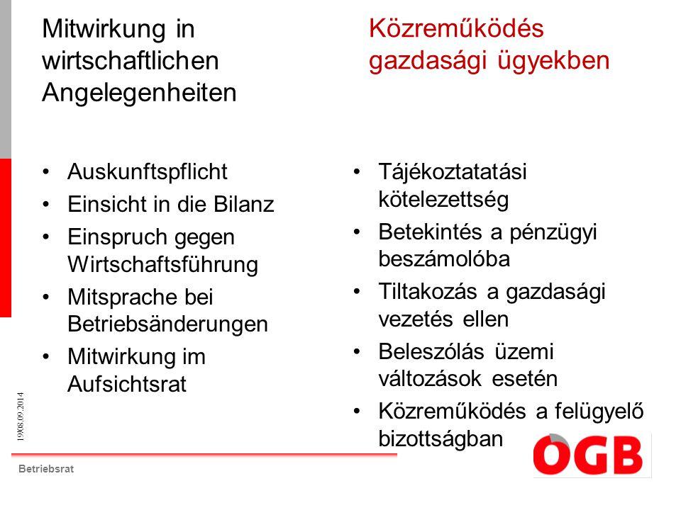 19/08.09.2014 Betriebsrat Auskunftspflicht Einsicht in die Bilanz Einspruch gegen Wirtschaftsführung Mitsprache bei Betriebsänderungen Mitwirkung im A