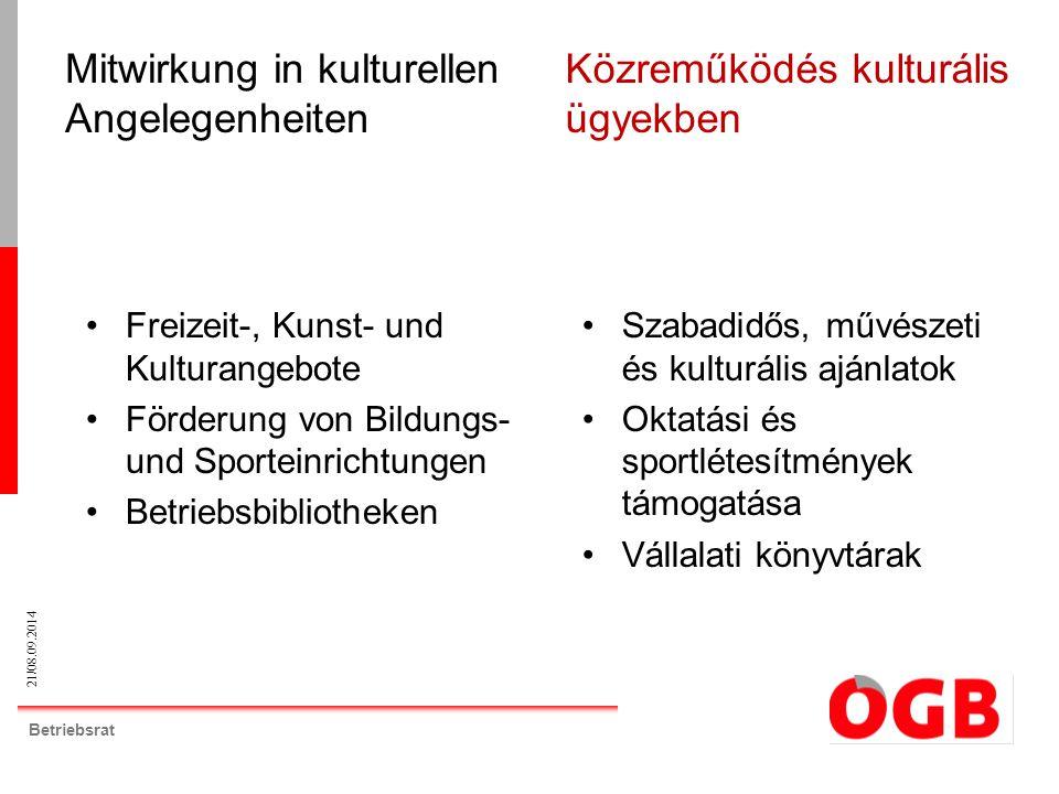 21/08.09.2014 Betriebsrat Freizeit-, Kunst- und Kulturangebote Förderung von Bildungs- und Sporteinrichtungen Betriebsbibliotheken Mitwirkung in kultu