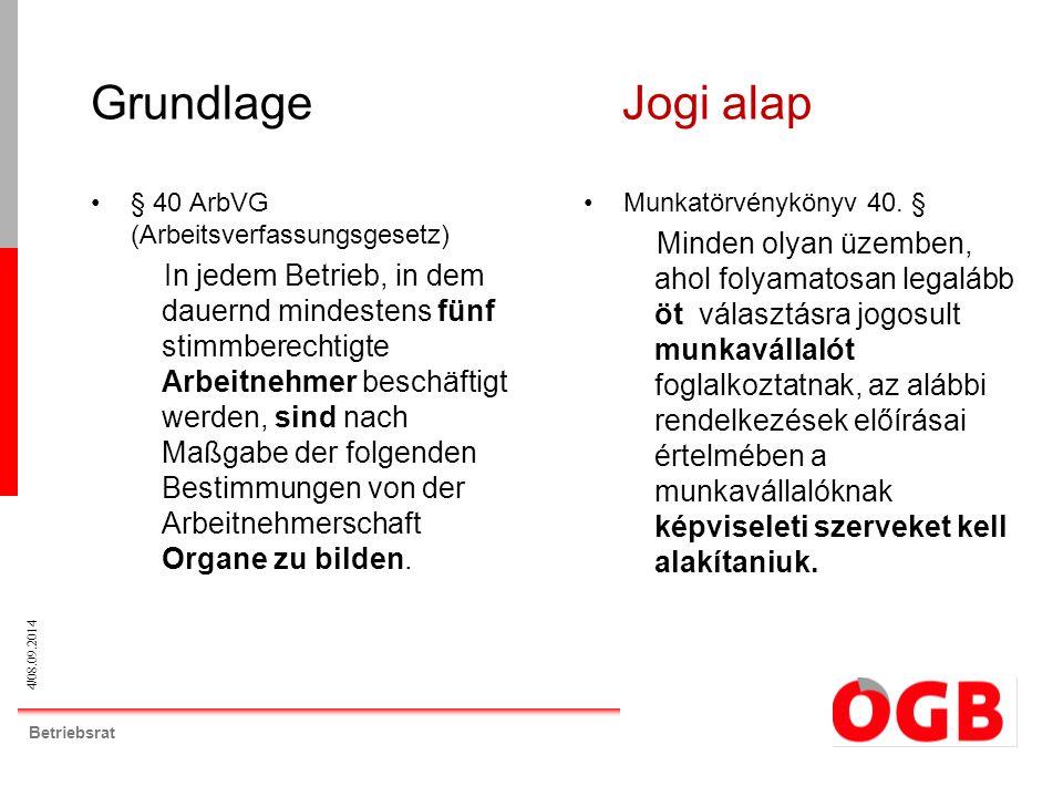 4/08.09.2014 Betriebsrat Grundlage Jogi alap § 40 ArbVG (Arbeitsverfassungsgesetz) In jedem Betrieb, in dem dauernd mindestens fünf stimmberechtigte A