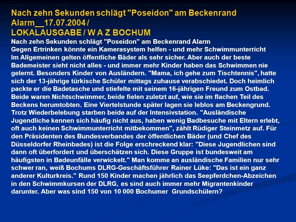 Badeunfall in Dortmund: Erster Prozesstag 14-Jähriger Junge wurde beim Tauchen angesaugt Neun Monate nach dem tragischen Tod eines 14-Jährigen in einem Dortmunder Freibad begann am Dienstag (16.03.04) der Prozess vor dem dortigen Amtsgericht.