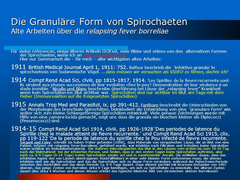 Die Granuläre Form von Spirochaeten Alte Arbeiten über die relapsing fever borreliae Für vielen referencen, einige älteren Artikeln OCR'ed, viele Bild
