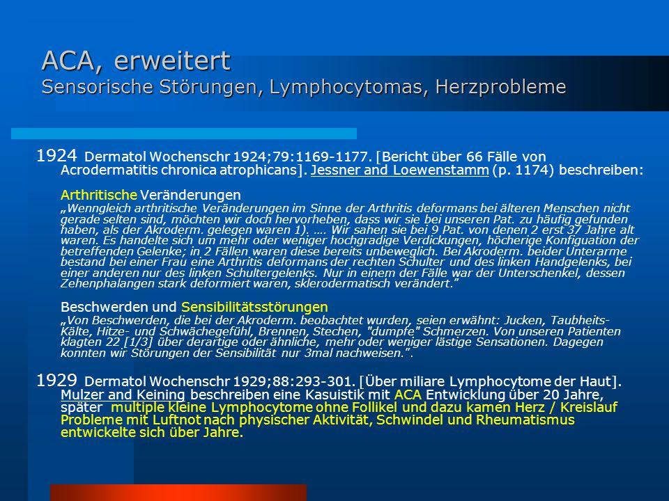 ACA, erweitert Sensorische Störungen, Lymphocytomas, Herzprobleme 1924 Dermatol Wochenschr 1924;79:1169-1177. [Bericht über 66 Fälle von Acrodermatiti