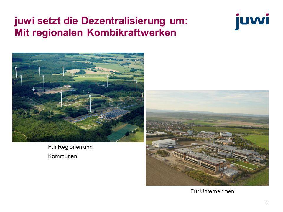 10 juwi setzt die Dezentralisierung um: Mit regionalen Kombikraftwerken Für Unternehmen Für Regionen und Kommunen