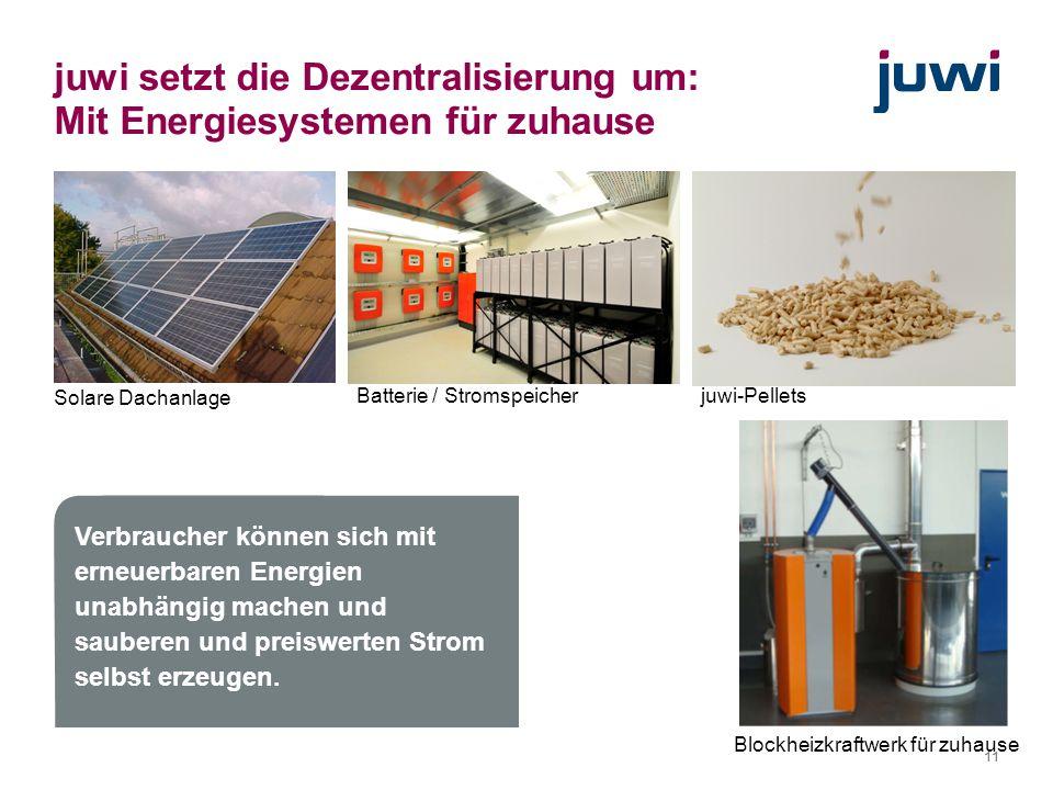 11 juwi setzt die Dezentralisierung um: Mit Energiesystemen für zuhause juwi-Pellets Blockheizkraftwerk für zuhause Solare Dachanlage Batterie / Strom