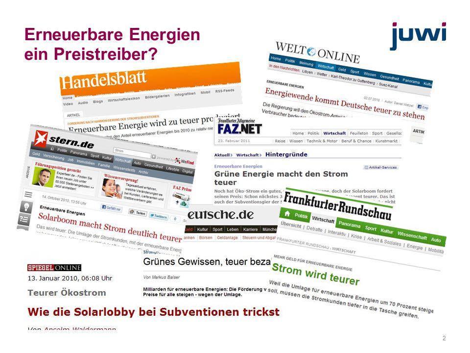 2 Erneuerbare Energien ein Preistreiber?