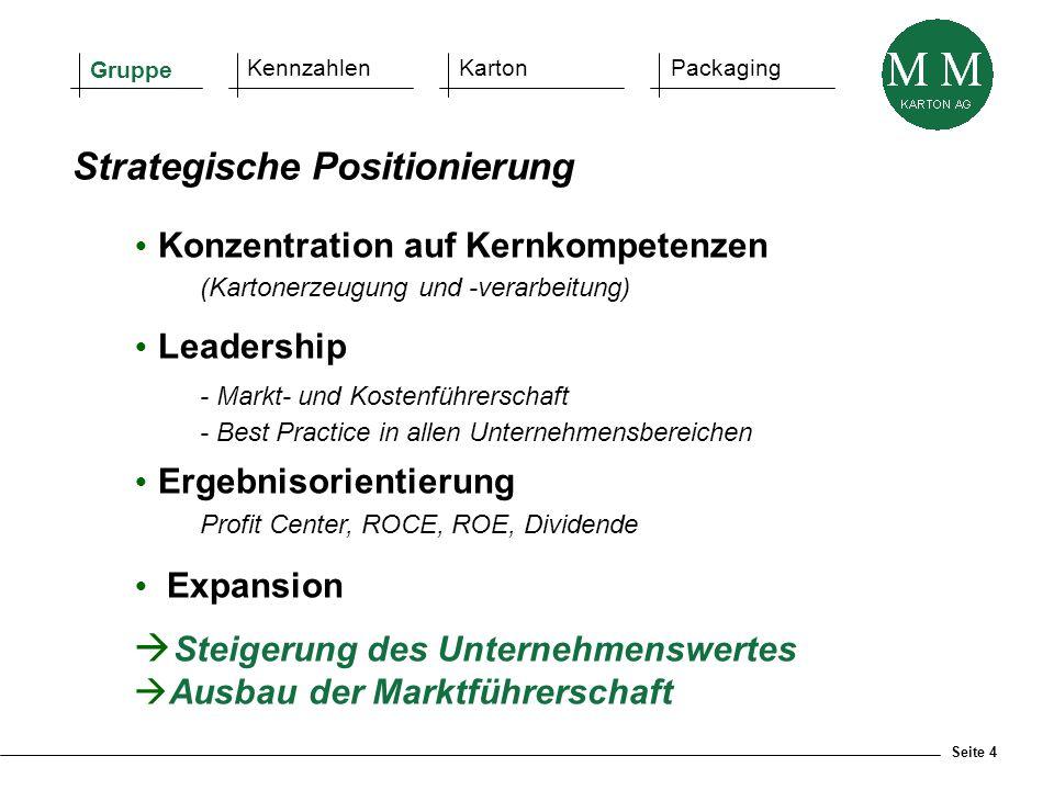 Seite 4  Konzentration auf Kernkompetenzen (Kartonerzeugung und -verarbeitung)  Leadership - Markt- und Kostenführerschaft - Best Practice in allen