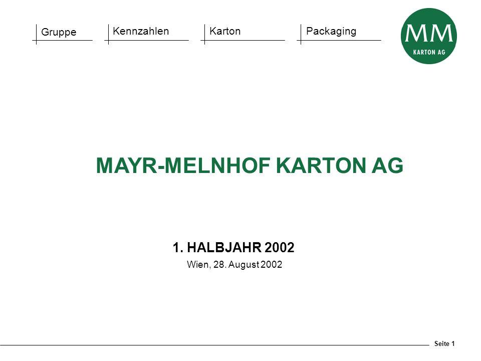 Seite 1 Gruppe KennzahlenKartonPackaging 1. HALBJAHR 2002 Wien, 28. August 2002 MAYR-MELNHOF KARTON AG