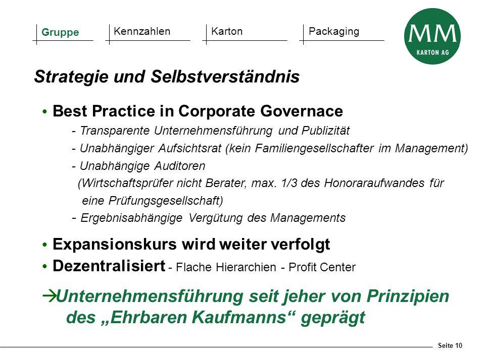 Seite 10  Best Practice in Corporate Governace - Transparente Unternehmensführung und Publizität - Unabhängiger Aufsichtsrat (kein Familiengesellscha