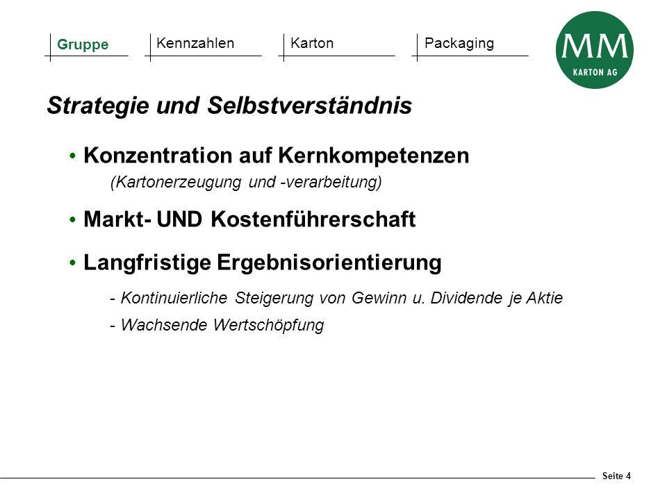 Seite 4  Konzentration auf Kernkompetenzen (Kartonerzeugung und -verarbeitung)  Markt- UND Kostenführerschaft  Langfristige Ergebnisorientierung -