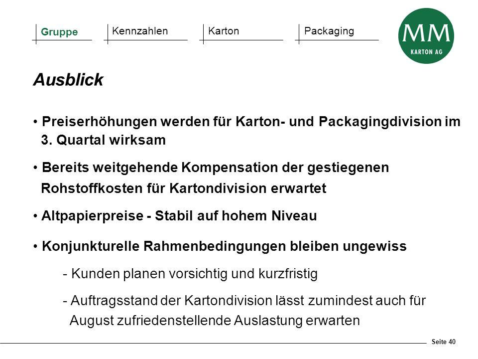 Seite 40 Ausblick Preiserhöhungen werden für Karton- und Packagingdivision im 3. Quartal wirksam Bereits weitgehende Kompensation der gestiegenen Rohs