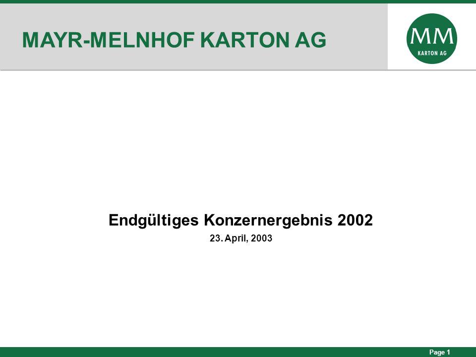 Page 1 MAYR-MELNHOF KARTON AG Endgültiges Konzernergebnis 2002 23. April, 2003