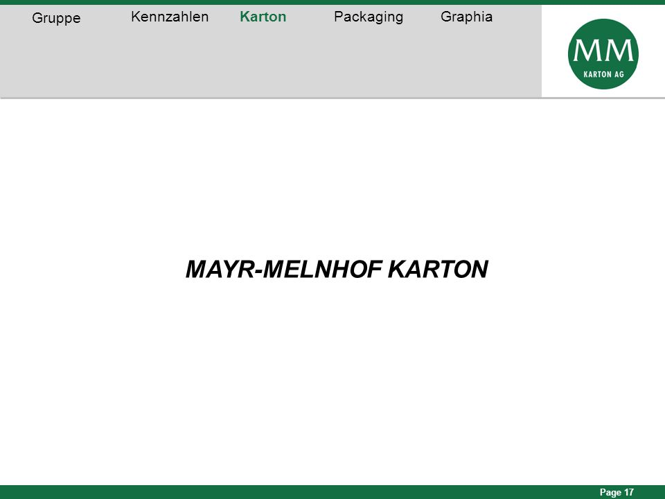 Page 17 MAYR-MELNHOF KARTON Gruppe KennzahlenKartonPackagingGraphia