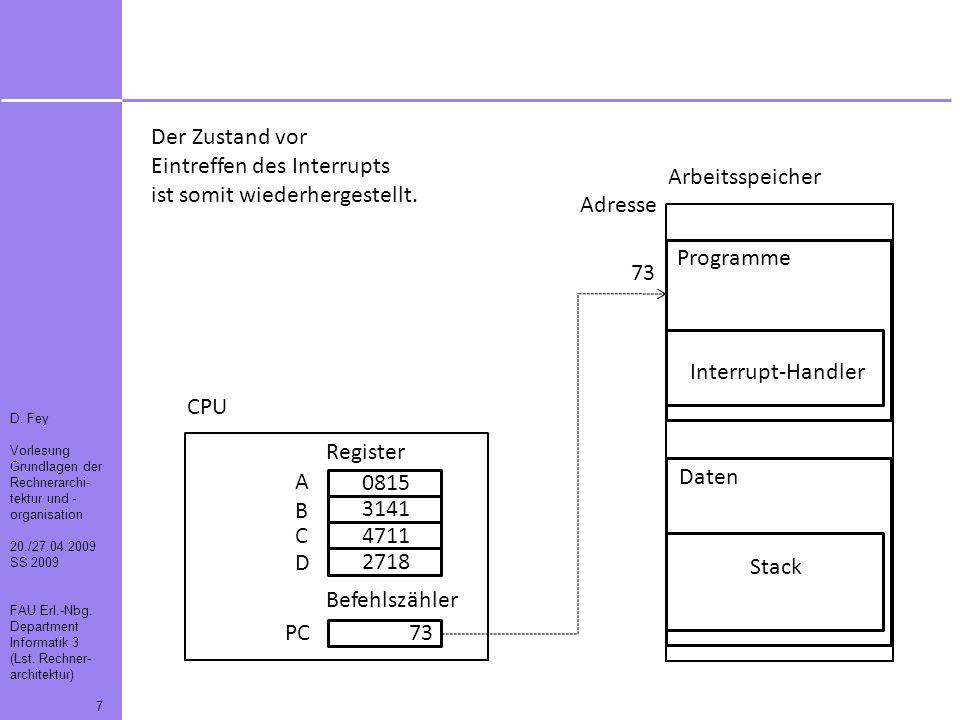 D. Fey Vorlesung Grundlagen der Rechnerarchi- tektur und - organisation 20./27.04.2009 SS 2009 FAU Erl.-Nbg. Department Informatik 3 (Lst. Rechner- ar