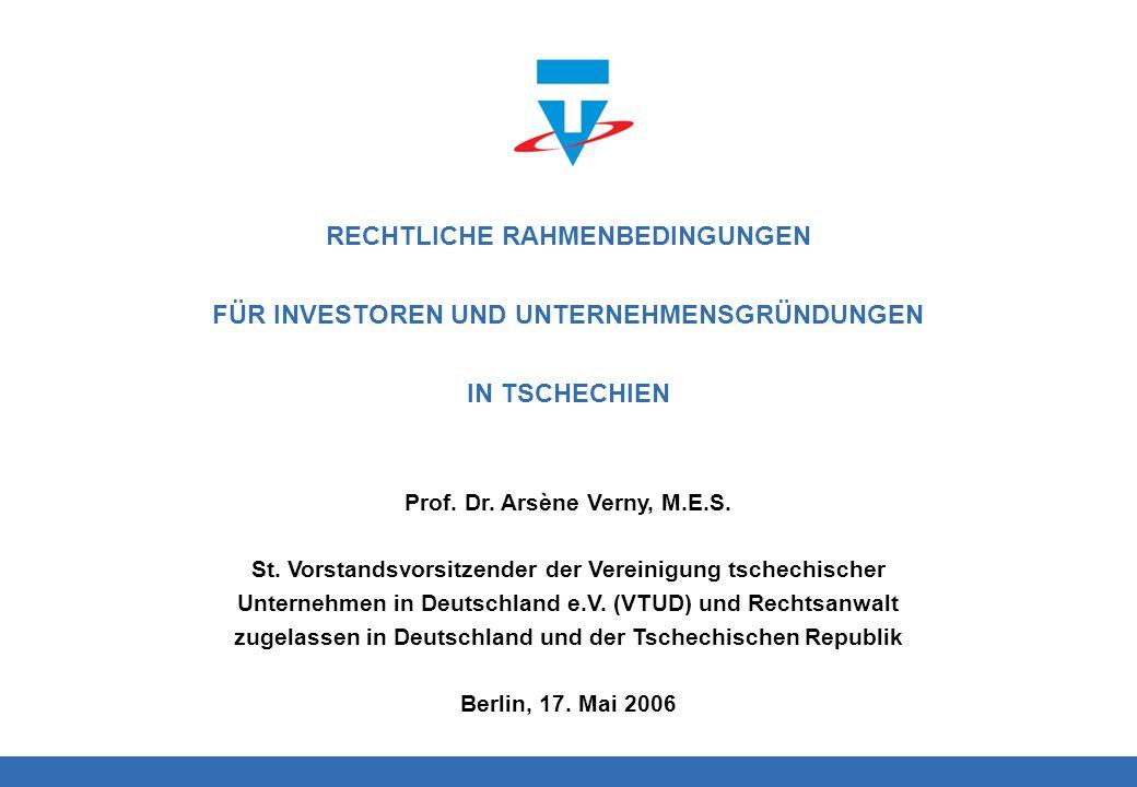 Logo Prof. Dr. Arsène Verny, M.E.S. St. Vorstandsvorsitzender der Vereinigung tschechischer Unternehmen in Deutschland e.V. (VTUD) und Rechtsanwalt zu