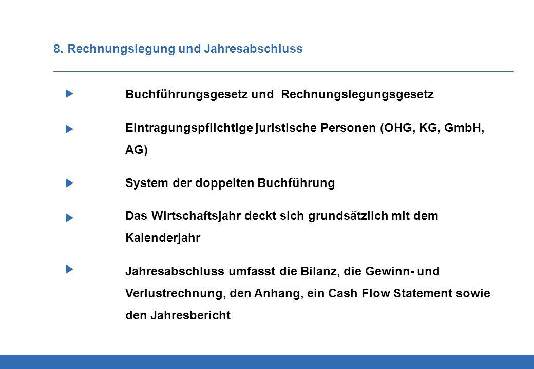 8. Rechnungslegung und Jahresabschluss Buchführungsgesetz und Rechnungslegungsgesetz Eintragungspflichtige juristische Personen (OHG, KG, GmbH, AG) Sy