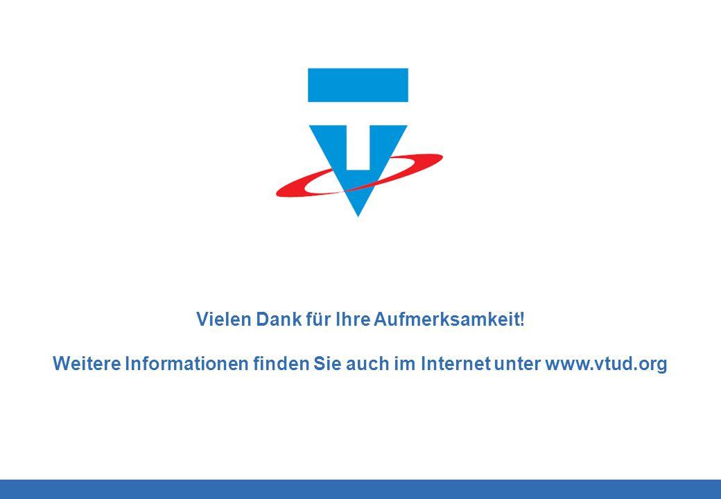 Logo Vielen Dank für Ihre Aufmerksamkeit! Weitere Informationen finden Sie auch im Internet unter www.vtud.org Logo