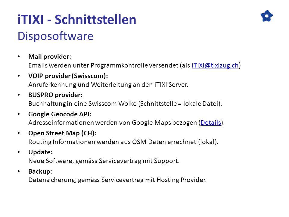iTIXI - Schnittstellen Disposoftware Mail provider: Emails werden unter Programmkontrolle versendet (als iTIXI@tixizug.ch)iTIXI@tixizug.ch VOIP provider (Swisscom): Anruferkennung und Weiterleitung an den iTIXI Server.