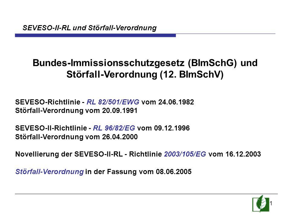 1 SEVESO-II-RL und Störfall-Verordnung Bundes-Immissionsschutzgesetz (BImSchG) und Störfall-Verordnung (12. BImSchV) SEVESO-Richtlinie - RL 82/501/EWG