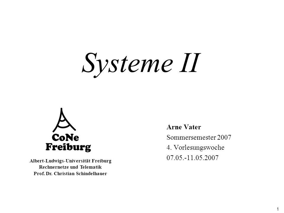 1 Albert-Ludwigs-Universität Freiburg Rechnernetze und Telematik Prof. Dr. Christian Schindelhauer Systeme II Arne Vater Sommersemester 2007 4. Vorles