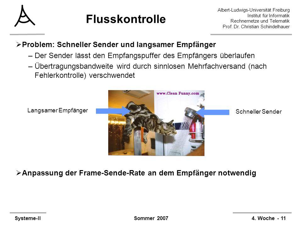 Albert-Ludwigs-Universität Freiburg Institut für Informatik Rechnernetze und Telematik Prof. Dr. Christian Schindelhauer Systeme-II4. Woche - 11Sommer