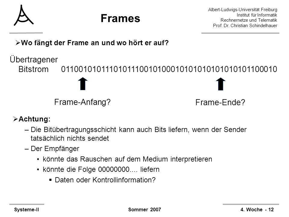 Albert-Ludwigs-Universität Freiburg Institut für Informatik Rechnernetze und Telematik Prof. Dr. Christian Schindelhauer Systeme-II4. Woche - 12Sommer
