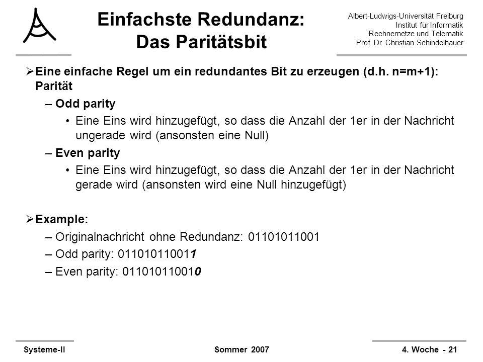 Albert-Ludwigs-Universität Freiburg Institut für Informatik Rechnernetze und Telematik Prof. Dr. Christian Schindelhauer Systeme-II4. Woche - 21Sommer