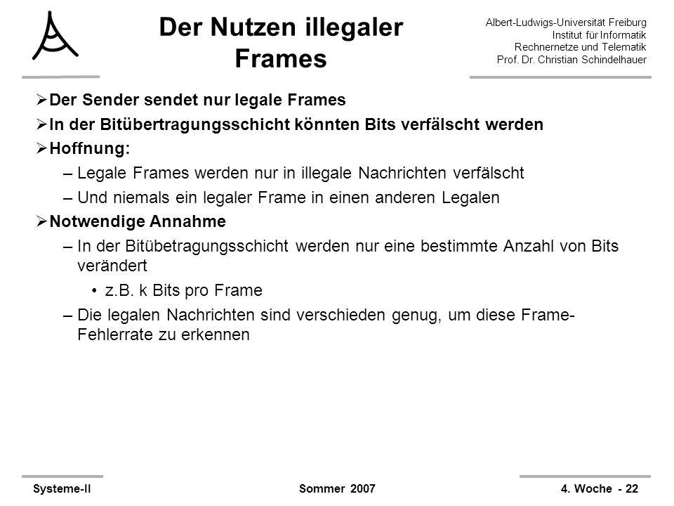 Albert-Ludwigs-Universität Freiburg Institut für Informatik Rechnernetze und Telematik Prof. Dr. Christian Schindelhauer Systeme-II4. Woche - 22Sommer