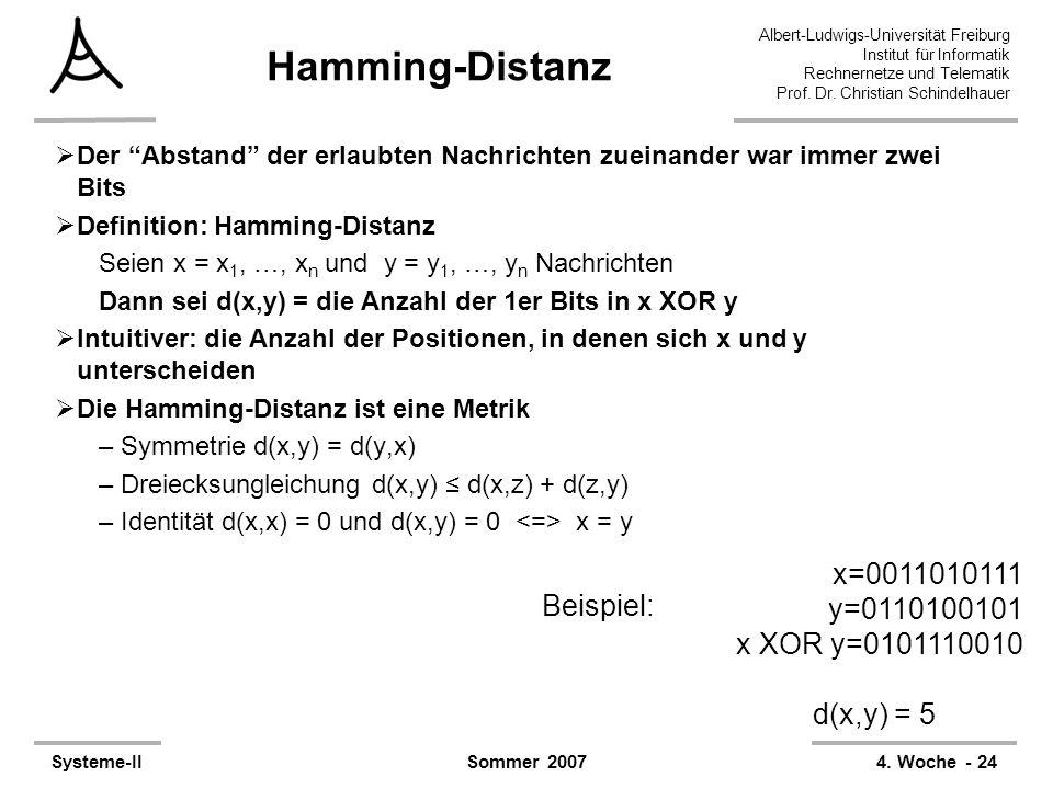 Albert-Ludwigs-Universität Freiburg Institut für Informatik Rechnernetze und Telematik Prof. Dr. Christian Schindelhauer Systeme-II4. Woche - 24Sommer