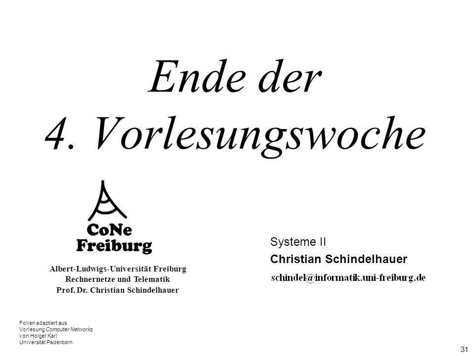 31 Albert-Ludwigs-Universität Freiburg Rechnernetze und Telematik Prof. Dr. Christian Schindelhauer Ende der 4. Vorlesungswoche Systeme II Christian S