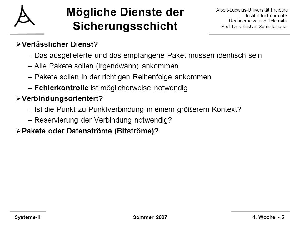 Albert-Ludwigs-Universität Freiburg Institut für Informatik Rechnernetze und Telematik Prof. Dr. Christian Schindelhauer Systeme-II4. Woche - 5Sommer