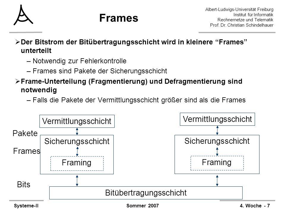 Albert-Ludwigs-Universität Freiburg Institut für Informatik Rechnernetze und Telematik Prof. Dr. Christian Schindelhauer Systeme-II4. Woche - 7Sommer