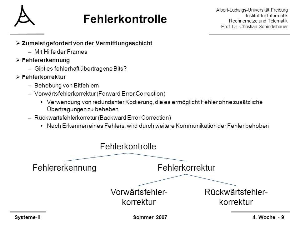 Albert-Ludwigs-Universität Freiburg Institut für Informatik Rechnernetze und Telematik Prof. Dr. Christian Schindelhauer Systeme-II4. Woche - 9Sommer