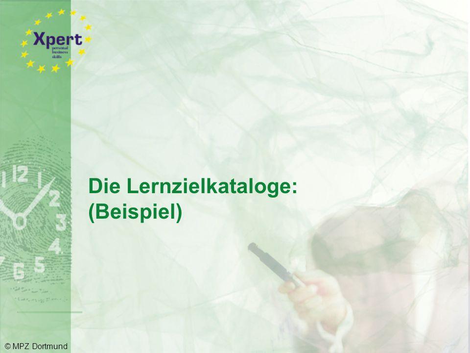 Kompetenzbereich Zielgerichtet präsentieren  Overheadfolien und Bildschirmshows am PC erstellen und gestalten (Computergestützte Präsentationsentwicklung)  Präsentationen gekonnt durchführen (Präsentationsverhalten und Umgang mit den Medien) © MPZ Dortmund
