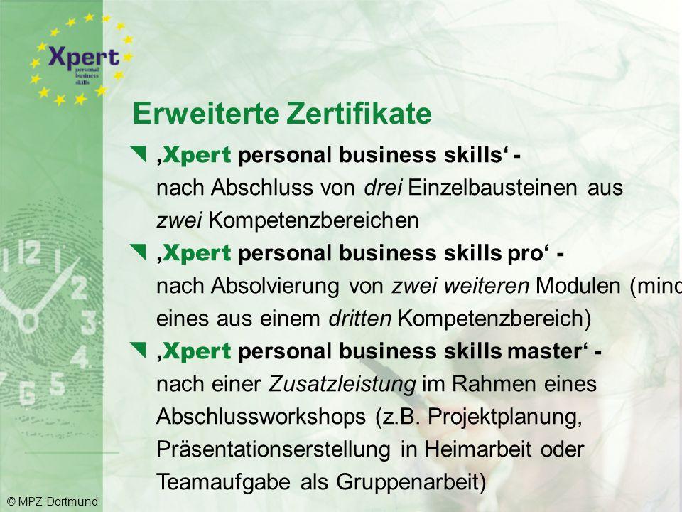 Prüfungen und Zertifikate: Für jede bestandene Teilprüfung wird ein Einzelzeugnis vergeben: © MPZ Dortmund