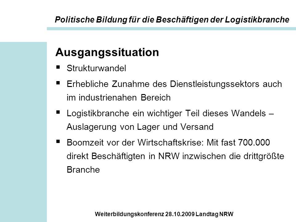 Weiterbildungskonferenz 28.10.2009 Landtag NRW Ausgangssituation  Strukturwandel  Erhebliche Zunahme des Dienstleistungssektors auch im industrienah