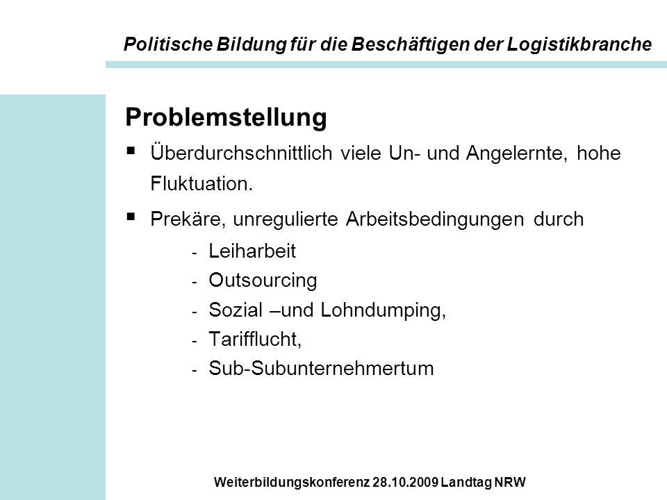 Weiterbildungskonferenz 28.10.2009 Landtag NRW Problemstellung  Überdurchschnittlich viele Un- und Angelernte, hohe Fluktuation.  Prekäre, unregulie