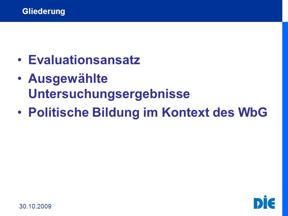 Evaluationsansatz Ausgewählte Untersuchungsergebnisse Politische Bildung im Kontext des WbG gesellschaftlicher Entwicklungen Gliederung 30.10.2009